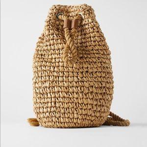 Zara Natural Woven Backpack